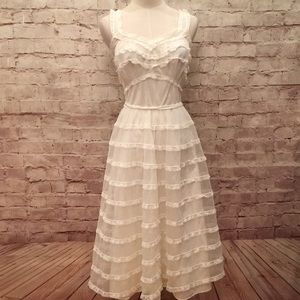 Shadowline Ivory Chiffon Tiered Lace Slip Gown